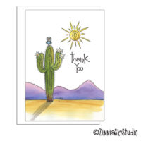 southwest cactus owl sun thank you card