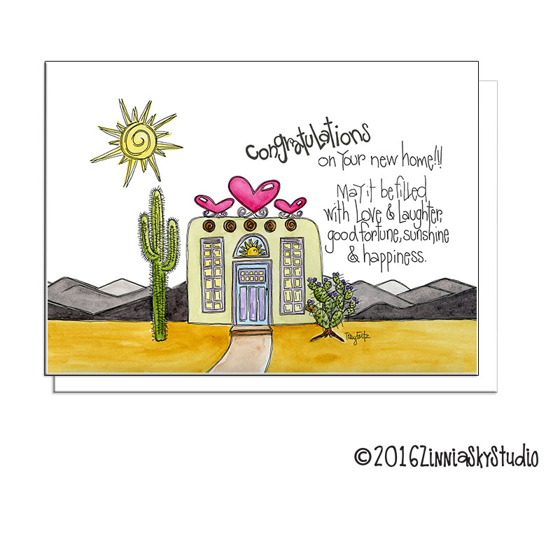 southwest adobe new home greeting card