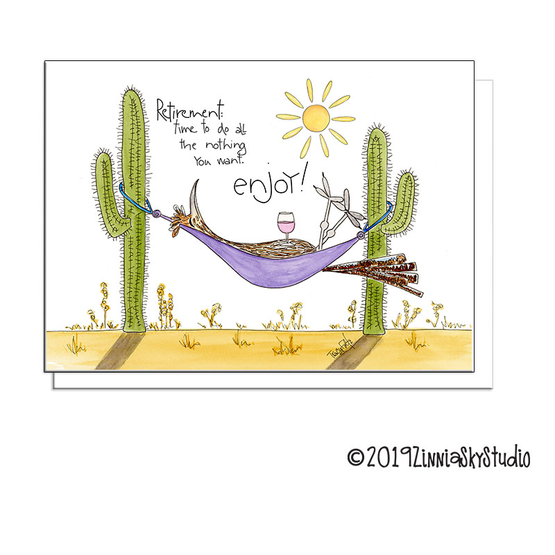 retirement road runner bird hammock greeting card