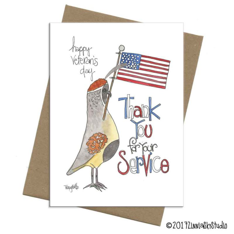 quail veteran's day card