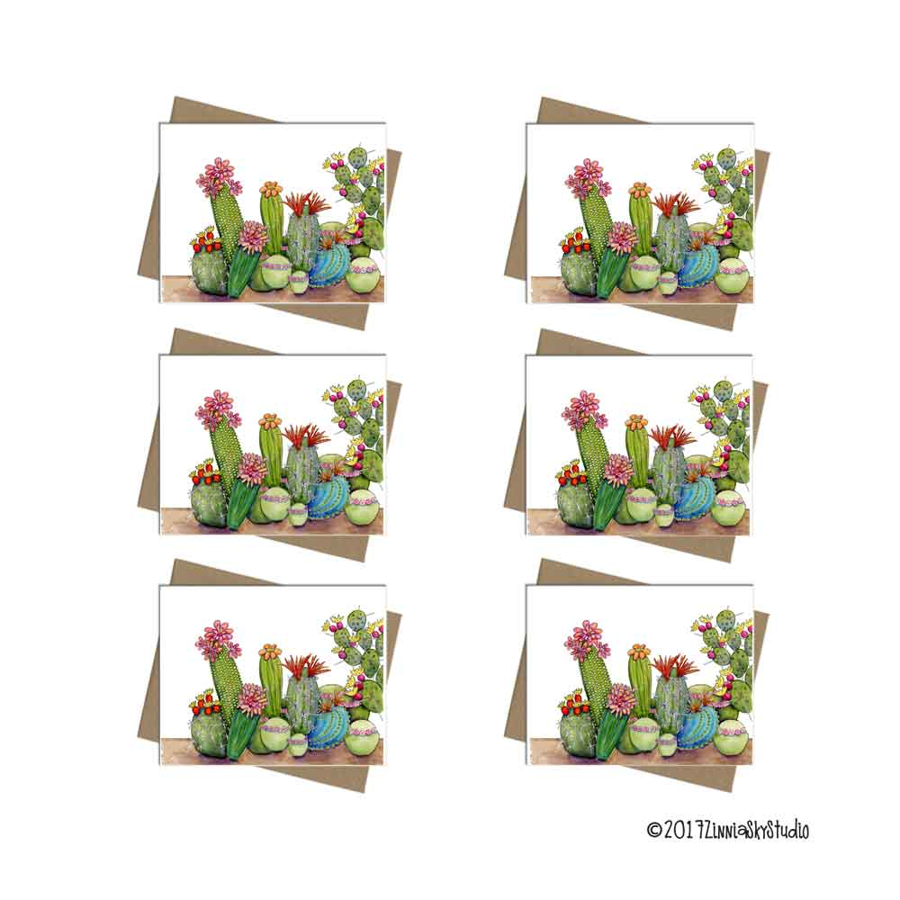 southwest succulent medley note card set