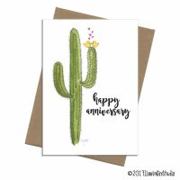 Saquaro cactus with two yellow love birds wishing a happy anniversary