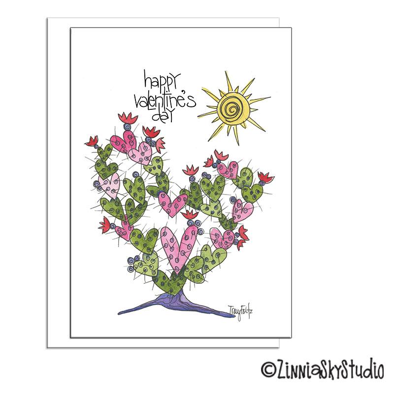 southwest cactus heart valentine card