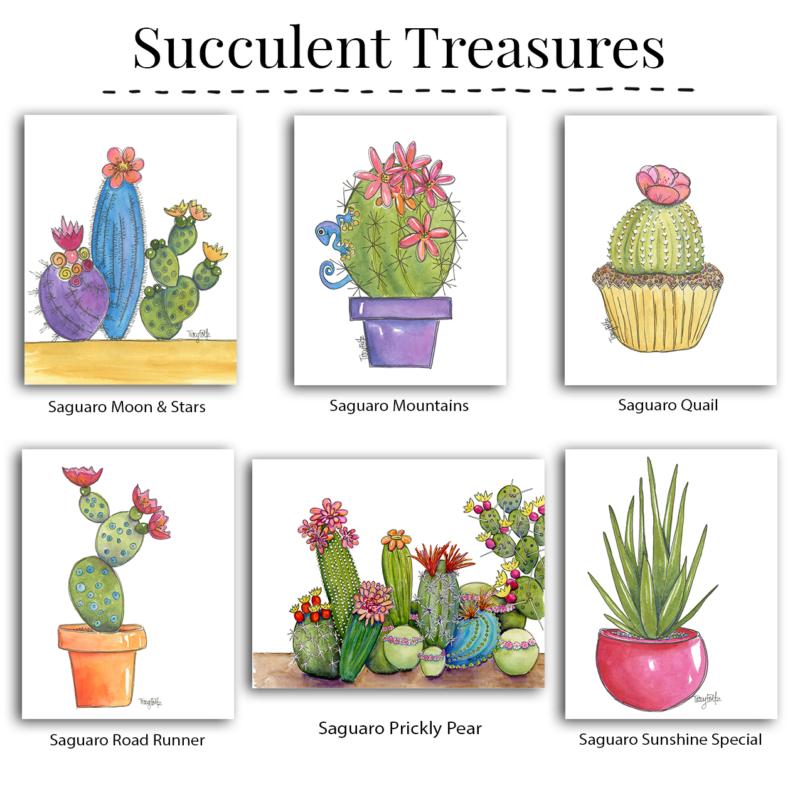 succulent note cards box set
