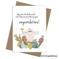 baby succulent new baby card