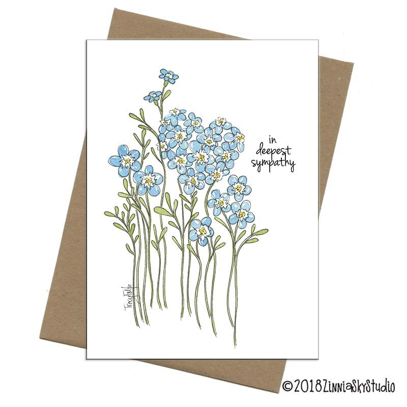 blue flowers heart sympathy card