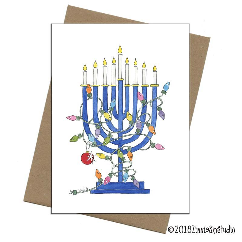 Hanukkah menorah christmas card