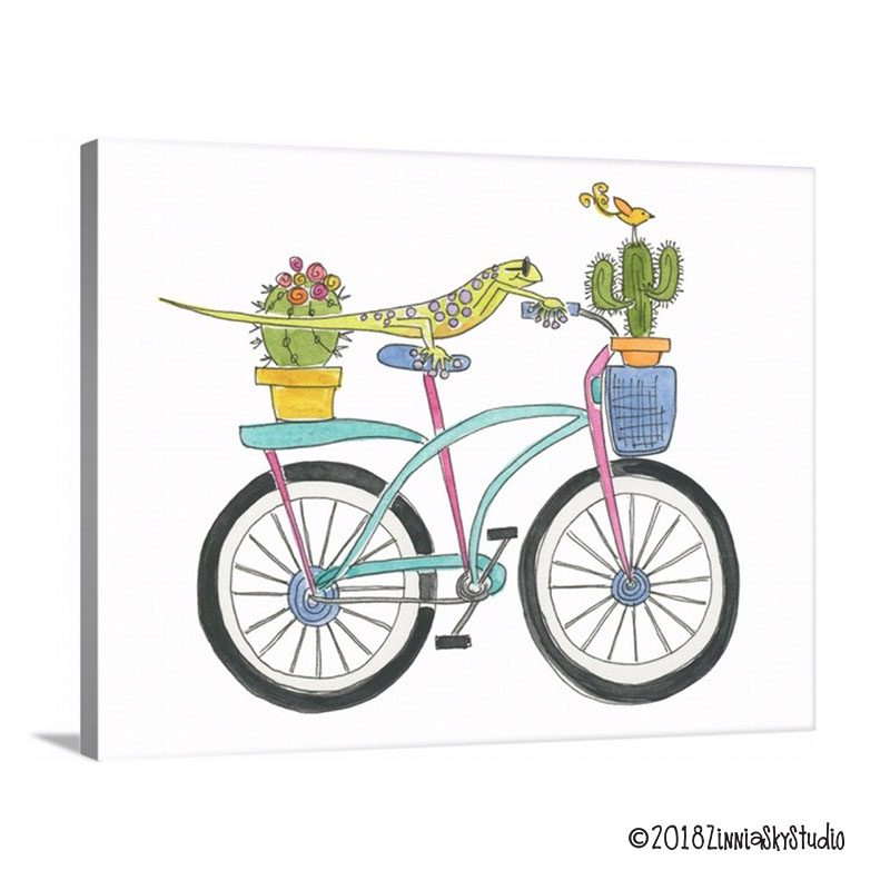 bicycle lizard 11 x 14 canvas