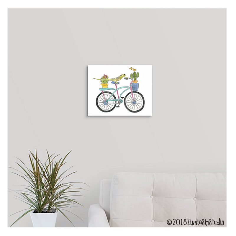 bicycle lizard 11 x 14 canvas on wall