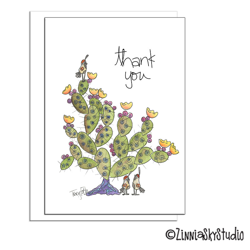 southwest cactus birds thank you card