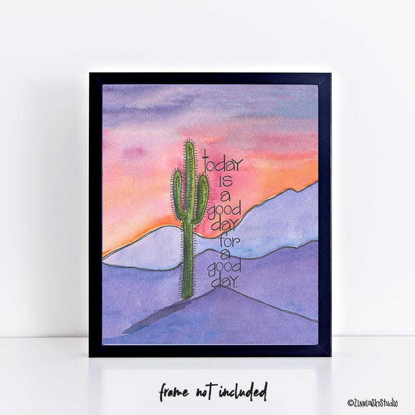 good day mountains art print frame