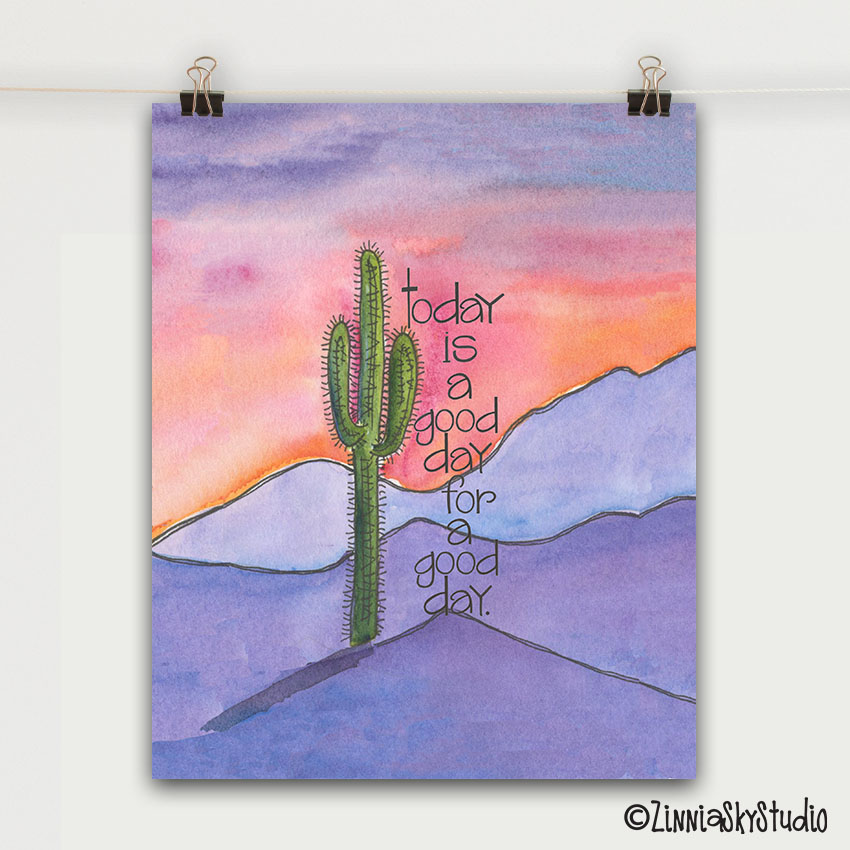 good day mountains art print