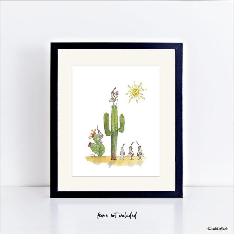 saguaro quail flowers art print
