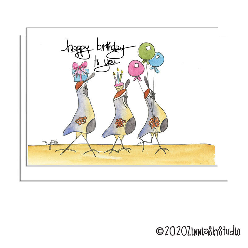 Three Quail Birthday Card