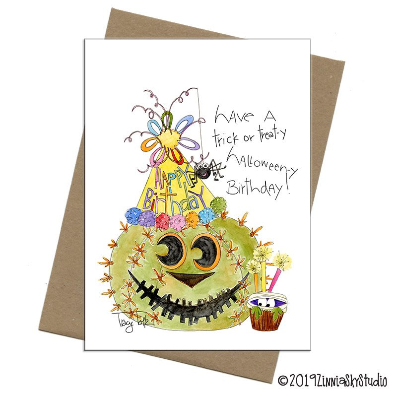 pumpkin cactus halloween birthday card