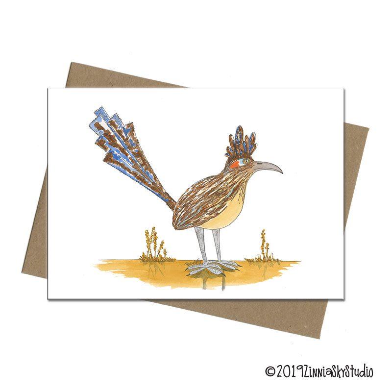 road runner desert bird blank card