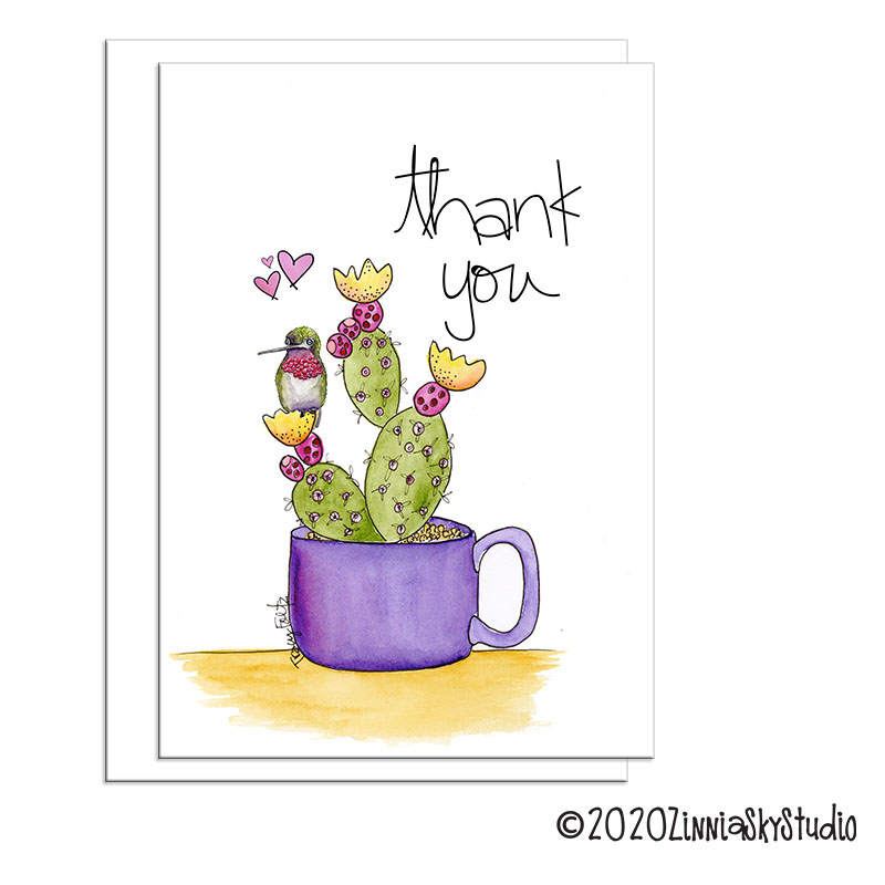 Hummingbird Purple Mug Thank You