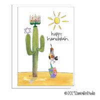 Hanukkah quail dreidel Hanukkah card