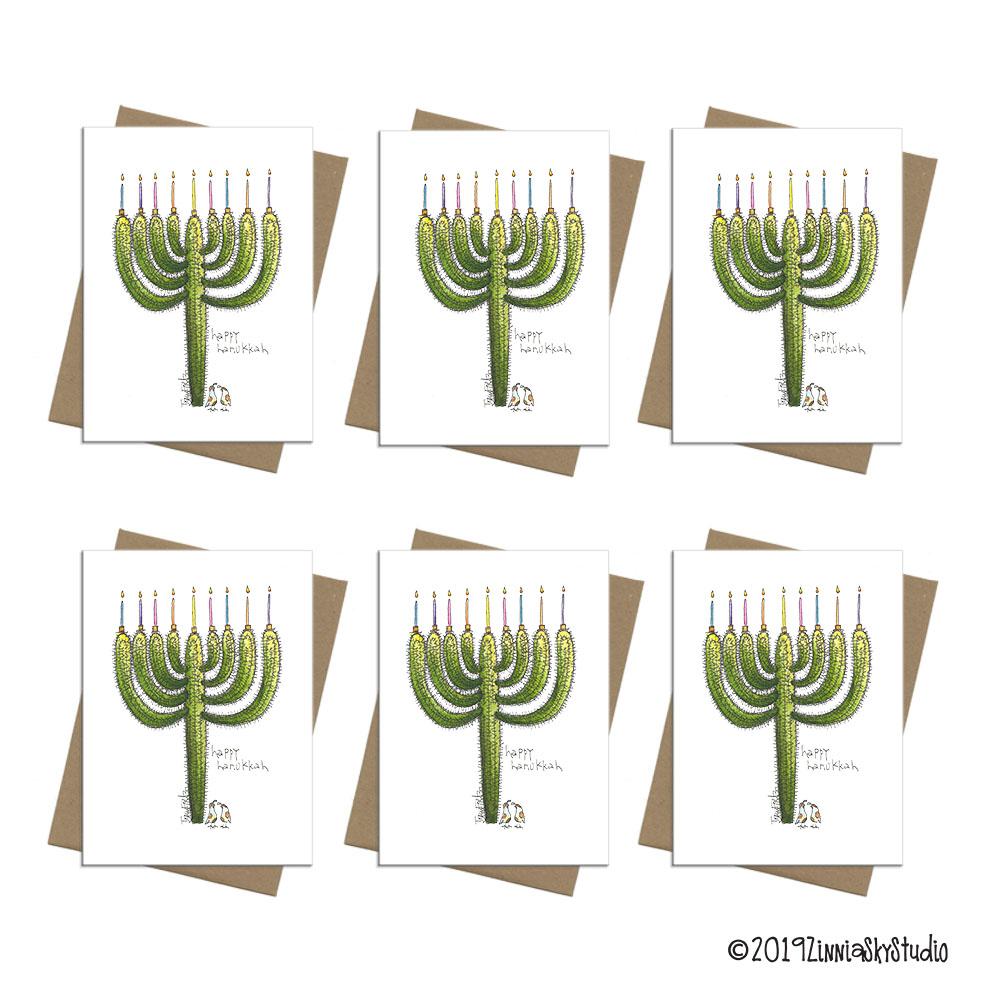 cactus menorah Hanukkah card box set 6