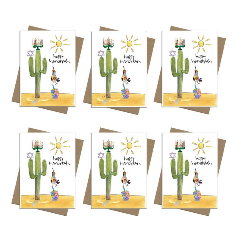 cactus dreidel bird Hanukkah card box set 6