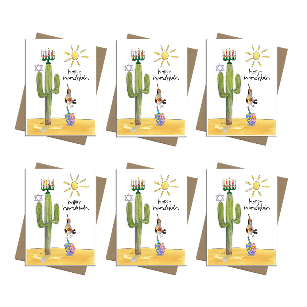 cactus dreidel bird Hanukkah card box set 6