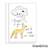 Funny Coyote Sheep Thinking of You Card