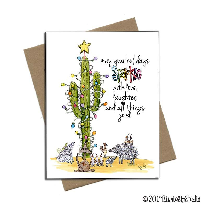 southwest critter sparkle holiday note card