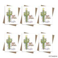 Christmas cactus light note card set