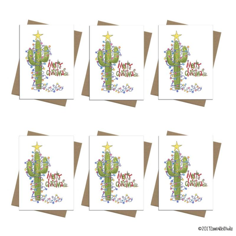 Christmas cactus light note card set