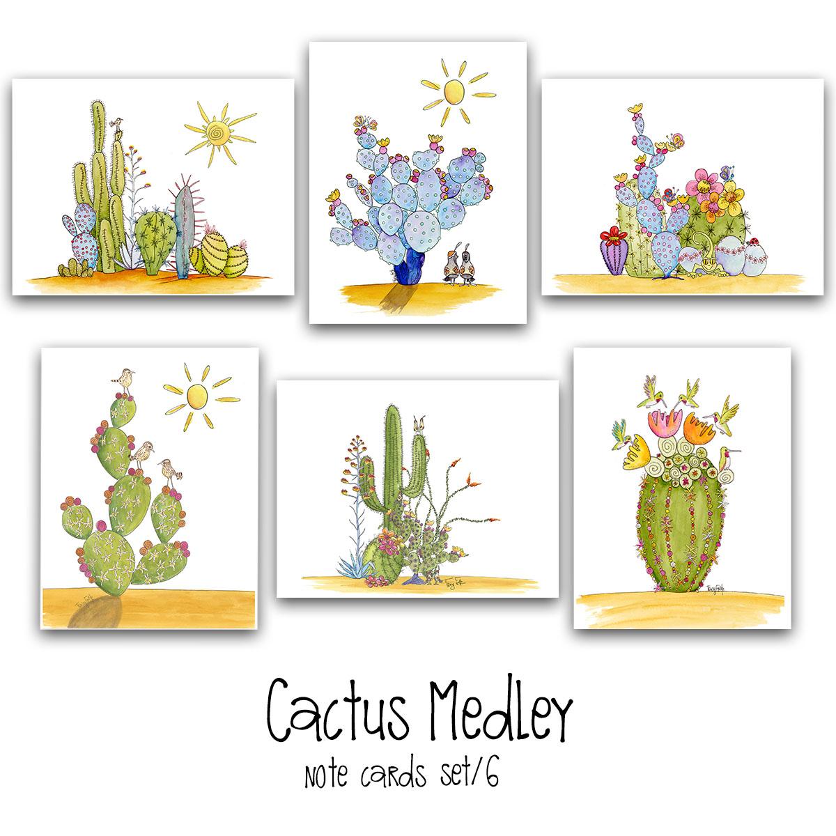 cactus medley note card set