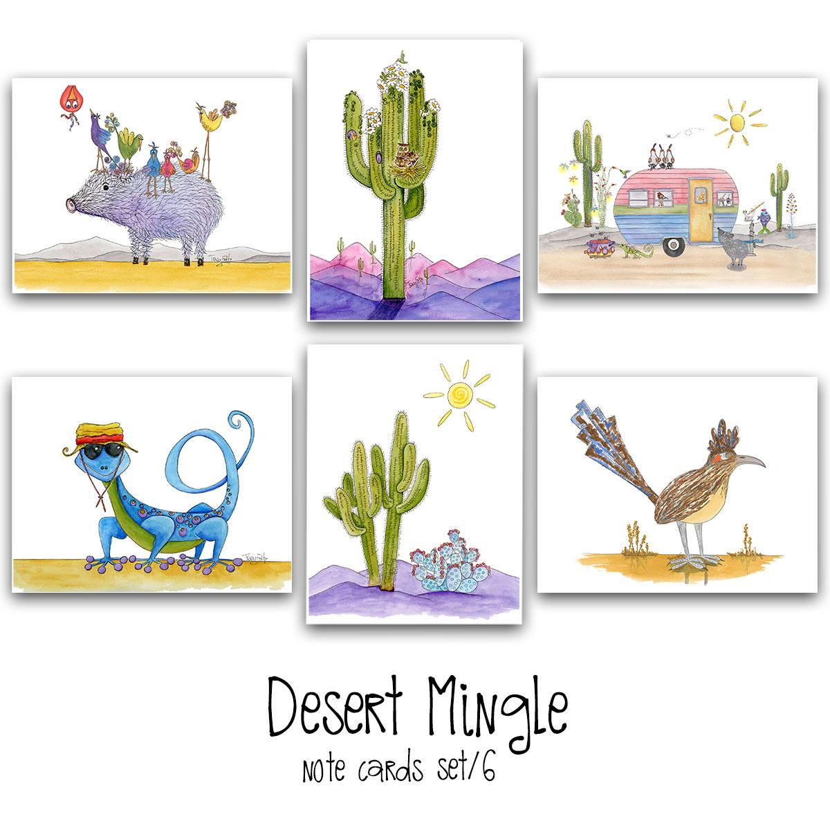 desert mingle note card set