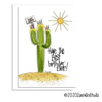 cactus cupcake birthday card