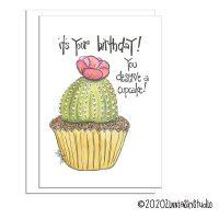 birthday cactus cupcake