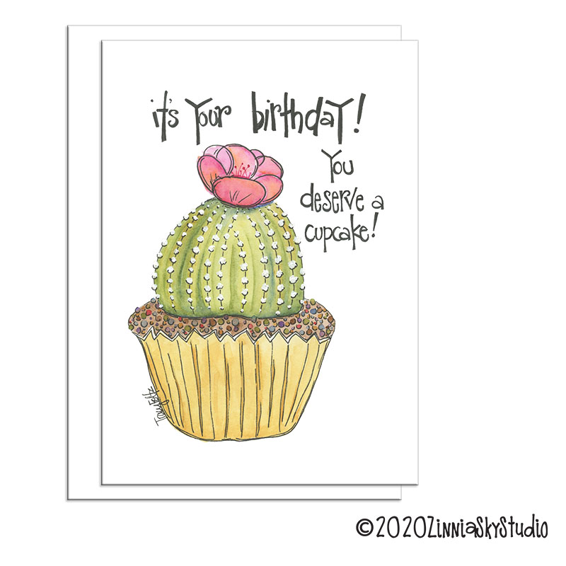 Terrific Southwest Cactus Cake Birthday Card Zinnia Sky Studio Funny Birthday Cards Online Benoljebrpdamsfinfo