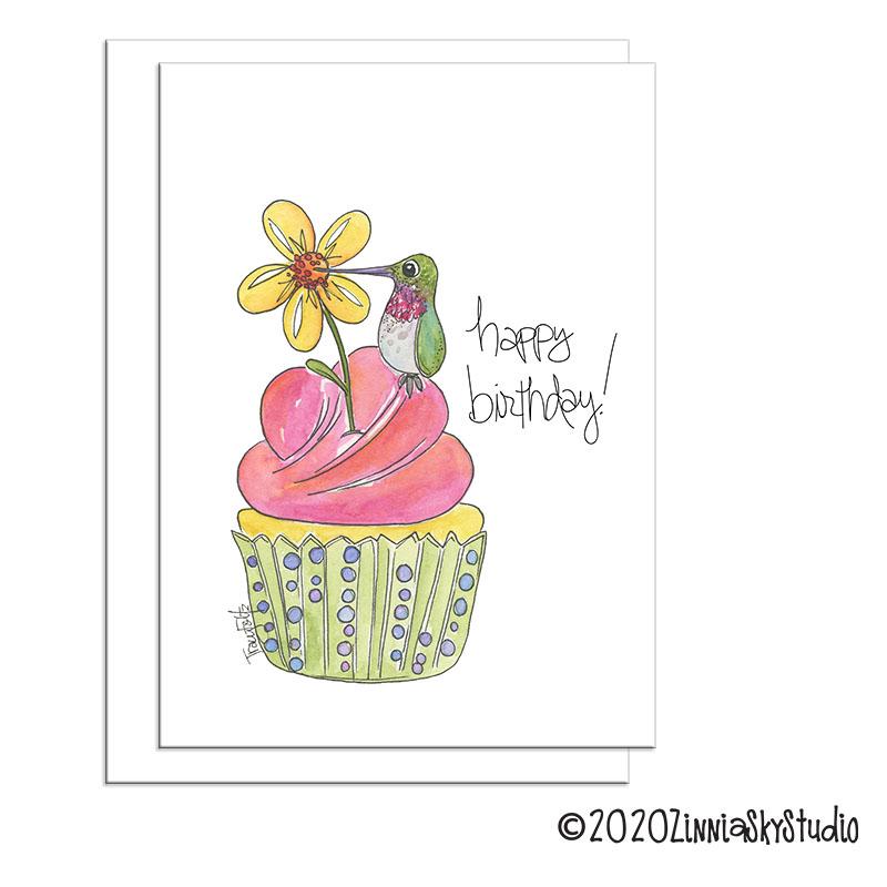 birthday hummingbird cupcake