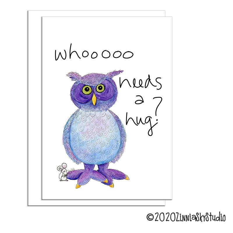 C0605 Friend Owl Purple white hugs