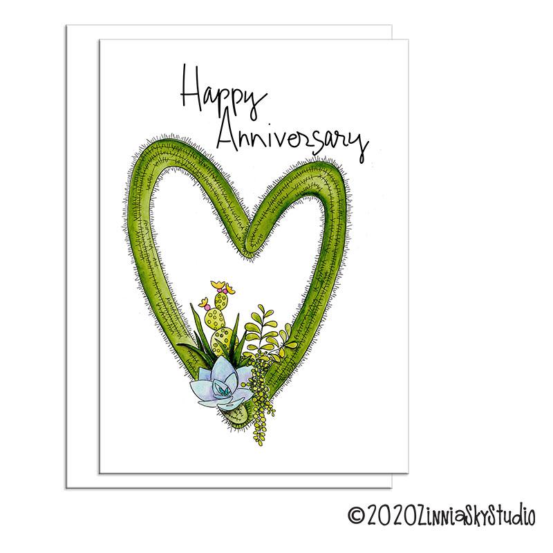 C0103 Anniv Succulent Heart white
