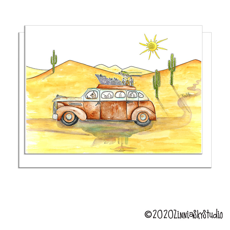 C0308 critter limo greeting card