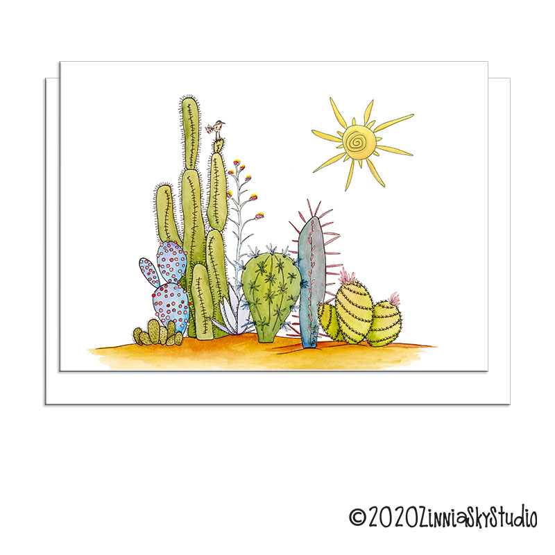 cactus collection with bird