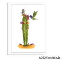 C0806 hummingbird cactus flowers greeting card