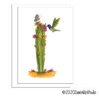 C0806 hummingbird cactus flowers greeting card