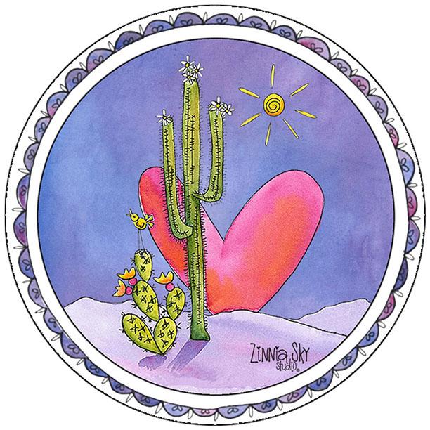 Saguaro Heart Vinyl Sticker