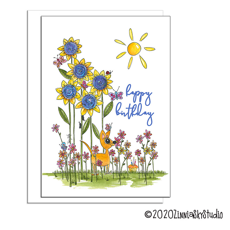 sunflowers butterflies dog birthday card