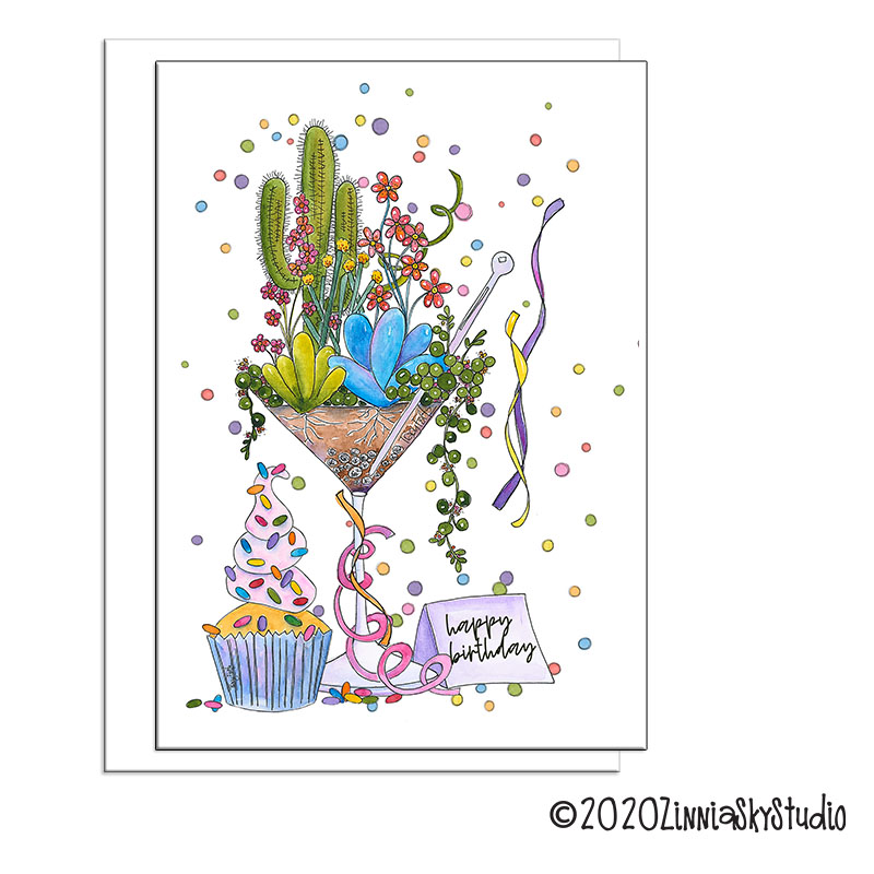 succulents martini glass birthday card