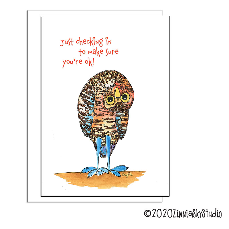 owl crazy upside down miss you card