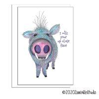 javelina pig up close face miss you card