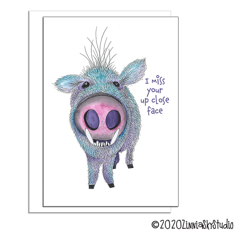 javelina pig up close face miss you card