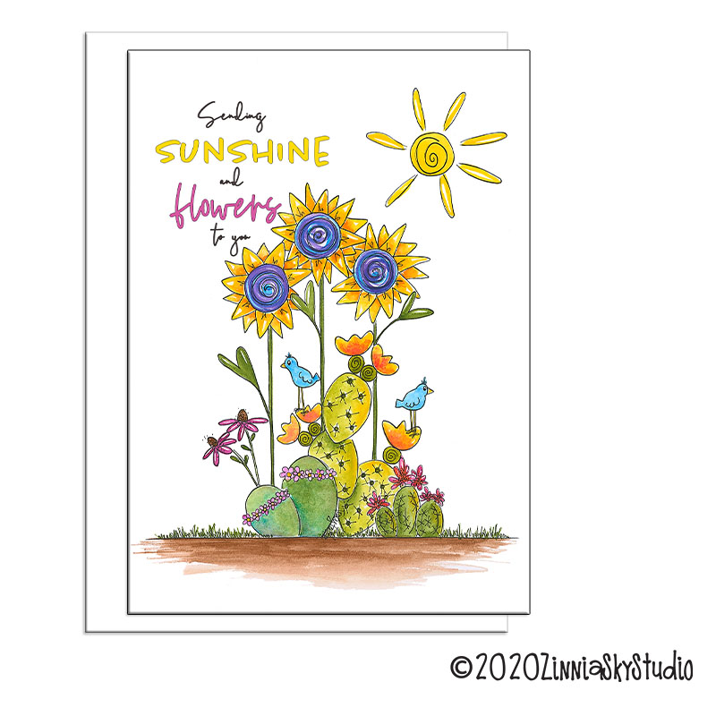 sunshine and succulent flowers friend card