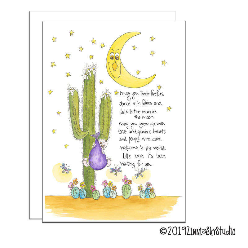 whimsical cactus new baby card