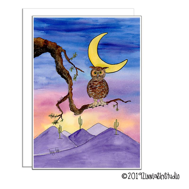 owl desert sunset